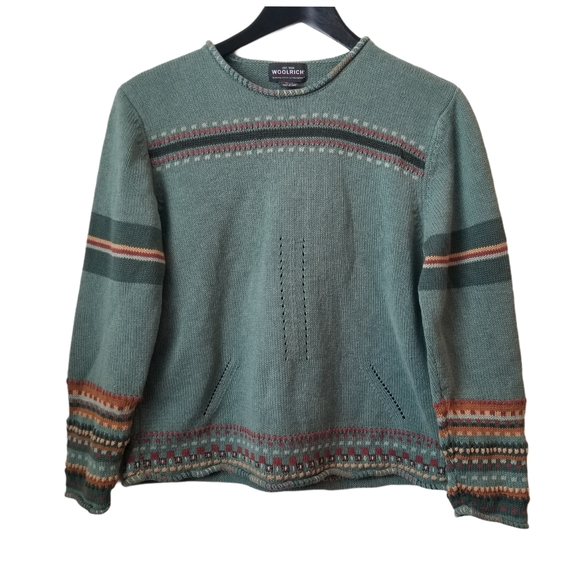 Woolrich Winter Turquoise Fair Isle Nordic Sweater